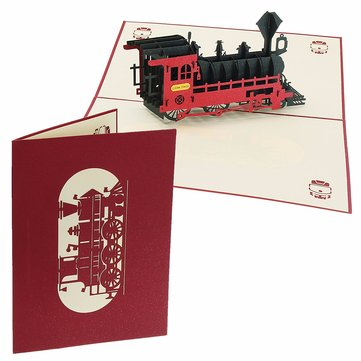 3D Pop Up Train Greeting Card Happy Birthday Thank You Christmas Halloween New Year Card