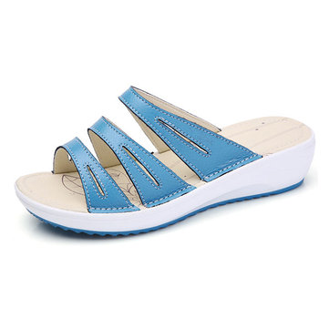 Women Casual Summer Beach Outdoor Leather Flat Sandals