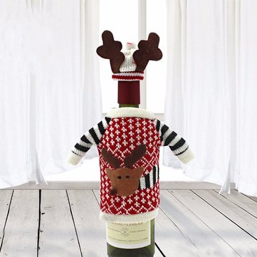 Red Wine Bottle Cover Bags Christmas Deer Dinner Table Decoration Home Party Decors