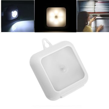 6 LED Warm White/White PIR Motion Sensor Battery Powered Night Light for Closet Cabinet Corridor