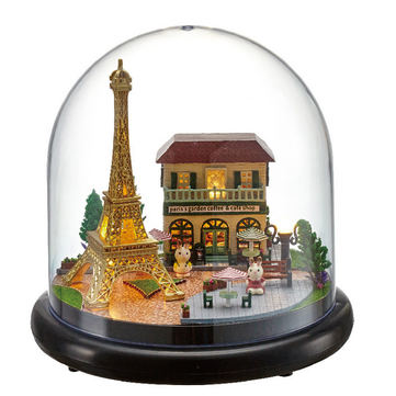 1:32 Cuteroom Dollhouse Miniature Romantic Paris DIY Kit With Cover And LED