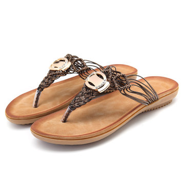Bohemian Metal Weave Casual Beach Slippers