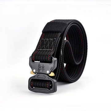 125cm Mens Nylon Military Combat Belt Outdoor Breathable Sport Quick-Drying Buckle Waist Belt