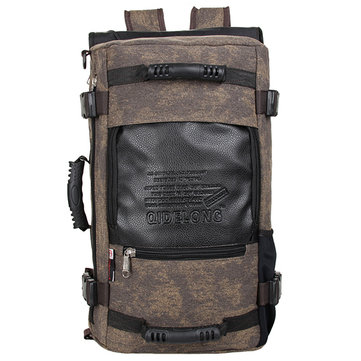 Men Canvas Vintage Large Capacity Backpack Handbag Multifunctional Leisure Outdoor Travel Bag