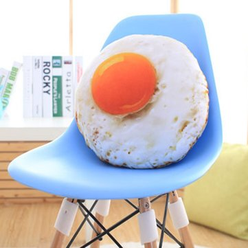 KCASA KC Simulation Egg Plush Toys Fried Egg Pillow Giant Stitch Plush Creative Egg Design Pillow