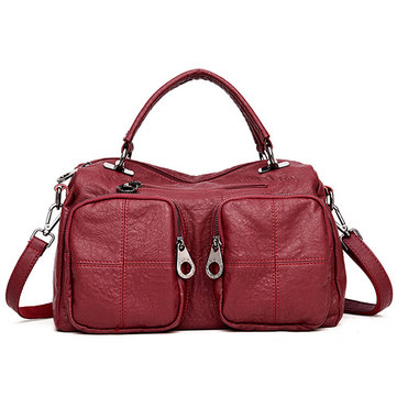 Women Quality Soft PU Leather Retro Vintage Large Capacity Boston Bag Handbag Shoulder Bag