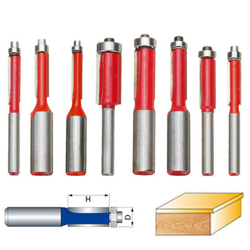 8pcs 1/4 1/2 Inch Shank Dual Flutes Straight Router Bit Flush Trim Cutter Drill Set