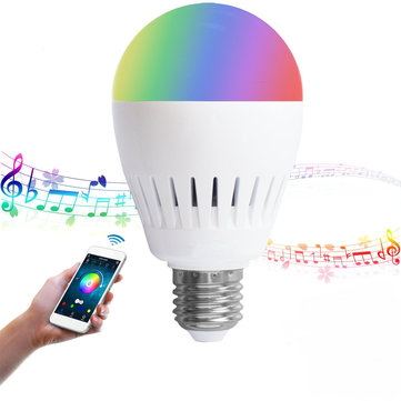 E27 8W RGB+Warm White Bluetooth Speaker Color Changing LED Smart Music Light Bulb AC100-240V