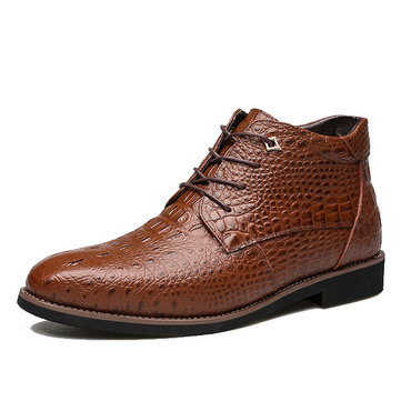 Lace Up Crocodile Pattern Pointed Toe Leather Short Boots For Men