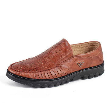 Breathable Hollow Outs Leather Soft Oxfords for Men