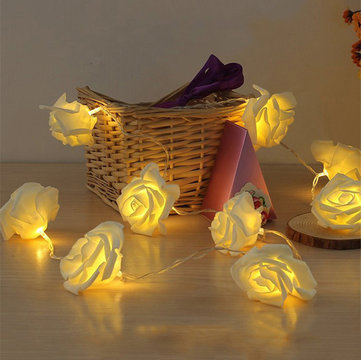 Honana DX-333 20 LED Rose Flower Fairy String Lights Cable Battery Powered Wedding Home Decoration