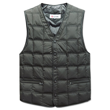 Mens Winter Middle Aged Elderly V Neck Solid Color Warm Down Vest