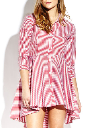 Elegant Women Stripe Lapel Button Long Sleeve Irregular Hem Shirt Dress