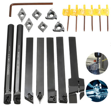 7pcs 10mm Shank Lathe Turning Tool Holder Boring Bar with Carbide Inserts MGEHR1010/SER1010H11/SCLCR