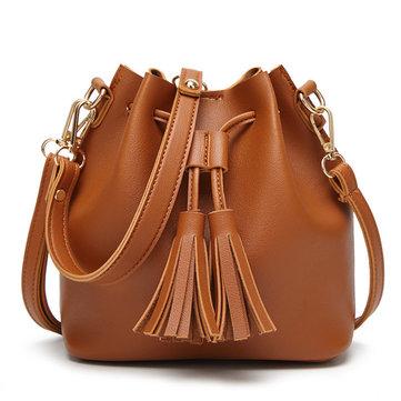 Women PU Leather Drawstring Bucket Bags Retro Tassel Shoulder Bags Crossbody Bags