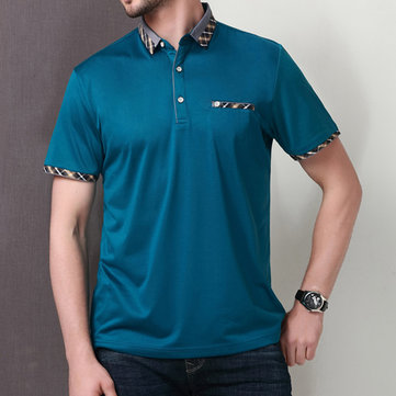 100% Mercerized Cotton Mens Solid Color Golf Shirt