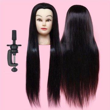 Verdadeira prática de cabelo 28'' 50% longa reta de cabeleireiro cabeça de formação com a braçadeira 71 centímetros