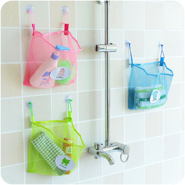 Honana BC-930 Polyester Transparent Cartoon Bathroom Sucker Hanging Storage Mesh Bag Toys Cosmetics