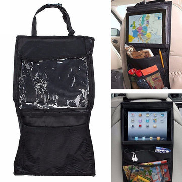 29x49cm Nylon PVC Clear View Tablet Touch Screen Car Seat Storage Bag Universal