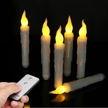 6PCS Flameless Battery Powered Warm White LED Birthday Wedding Candle Night Light+Remote Control
