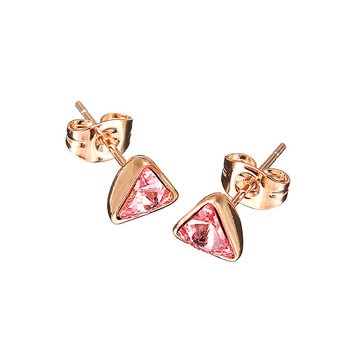 Cute Inlay Zircon Crystal Triangle Ear Stud Earrings Women Jewelry