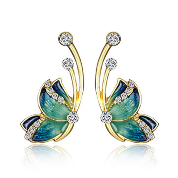Luxury Butterfly Gold Earring Sweet Ceramic Rhinestones Crystal Ear Stud Gift for Women