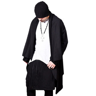 Mens Mid Length Knit Asymmetric Cardigans