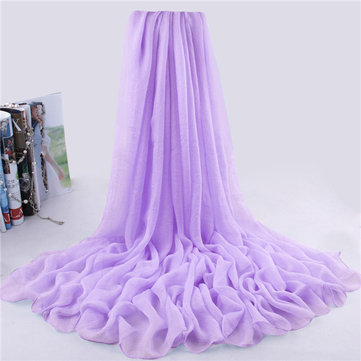 Women Summer Chiffon Scarf Solid Soft Long Scarves Shawls