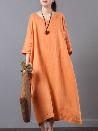 S-5XL V-Neck Pocket Cotton Dress