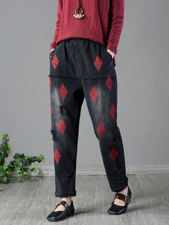 Vintage Embroidery Rips Jeans