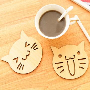 Cat Owl Wooden Carved Coaster Coffee Tea Cup Mug Mat