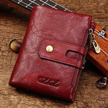 Men Women Vintage Genuine Leather Wallet Card Holder