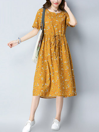 Linen Cotton Floral Print High Elastic Waist Dress