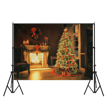 7x5ft Christmas Tree Fireplace Vinyl Photography Backdrops Studio Props Photo Background
