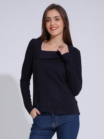 Повседневный Женское с длинным рукавом Нерегулярный чистый цвет Трикотажные майки