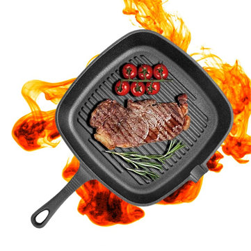 Non-Stick Cast Iron Grill Frying Pan Griddle BBQ Kitchen Cooking Baking Tool Non-Stick Pan