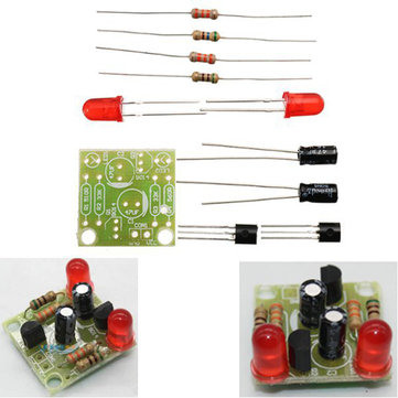 5pcs DC 3-14V DIY Simple LED Red Flashlight Circuit Kits DIY Multiharmonic Oscillating Electronic Circuit Sets PCB Board + Electronic Components + Instructions