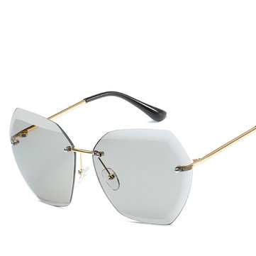 Men Womnen Outdoor Cut Edge Frameless Metal Sunglasses