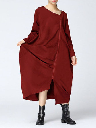 Casual Women Solid Color Long Sleeve Zip Up Asymmetrical Hem Coat
