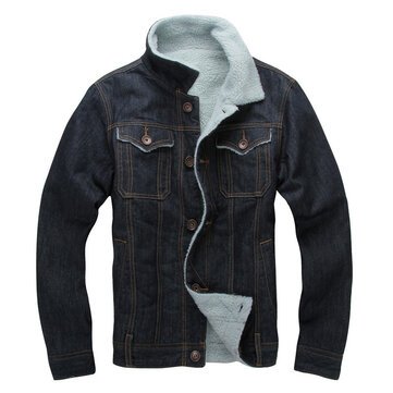 Mens Denim Thick Fleece Winter Turn Down Collar Jacket