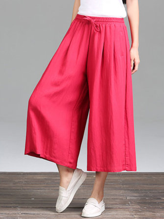 Casual Pure Color Loose Cotton Women Wide Leg Pants