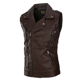 Fall Winter Washed PU Leather Sleeveless Zipper Fashion Motor Vest for Men