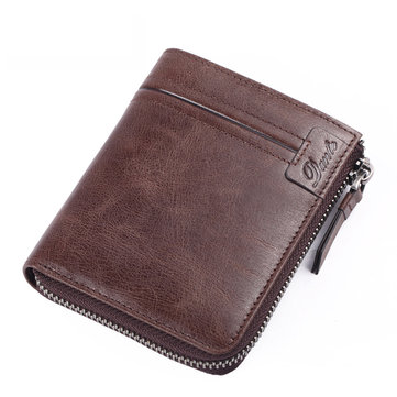 Men Vintage Leather Zipper Wallet Credit Card Holder