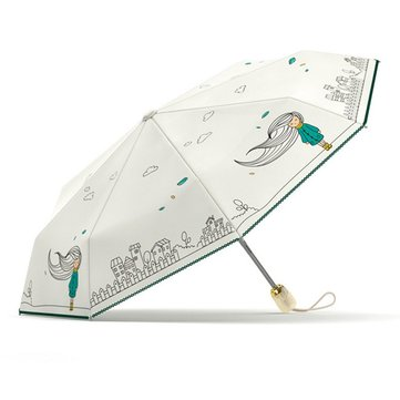 New Folding Automatic Umbrella For Girls Women Rain Waterproof Windproof Anti UV Paraguas Portable