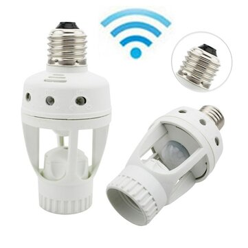 Infrared PIR Motion Sensor 360 Degree Timer E27 LED Bulb Adapter Lamp Holder Converter AC110V/220V