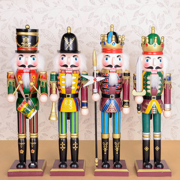 4PCS/Set 30cm Wooden Nutcracker Doll Soldier Vintage Handcraft Decoration Christmas Gifts