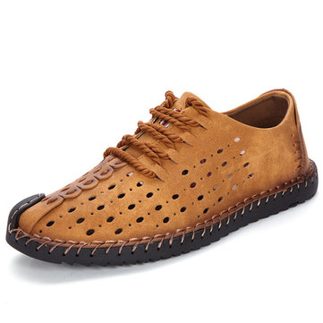 Men British Style Hand Stitching Hollow Out Lace Up Casual Flats