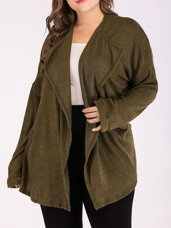Plus Size Loose Army Green Lapel Long Sleeve Cardigans