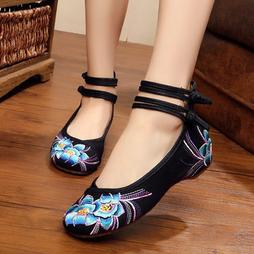 Orchid Embroidery Buckle Mary Janes Shoes
