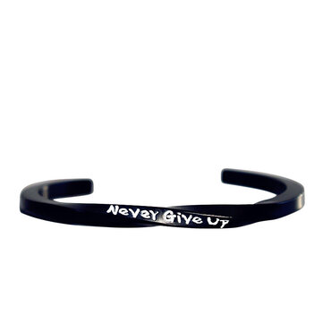 Mobius Band Never Give Up Engraved Spiral Bangle for Couple
